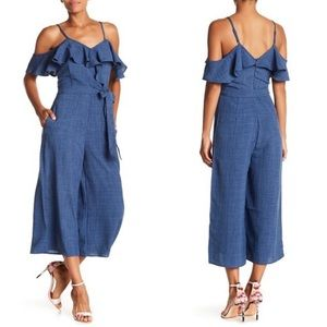 NWT ABS Collection Cold Shoulder Ruffle Jumpsuit L